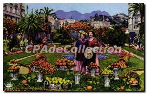 Postcard Old French Riviera fruit Oranges and Lemons Gold