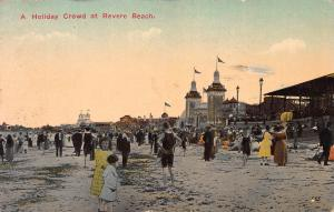 A Holiday Crowd at Revere Beach, Revere, MA, Early Postcard, Used in 1916