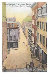 Canada Quebec Little Champlain Street Vintage Postcard