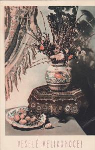Still Life: Vase of flowers, plate of fruit, Vesele Velikonoce! PU-1935