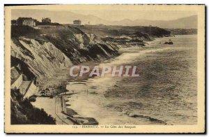 Old Postcard Biarritz La Cote Des Basques