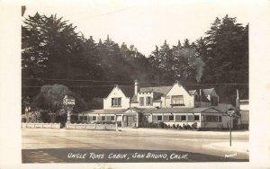 RPPC UNCLE TOM'S CABIN San Bruno El Camino Real Roadside Vintage Photo Postcard
