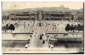 Old Postcard Paris Panorama Place de la Concorde and the Madeleine Sacre Coeur