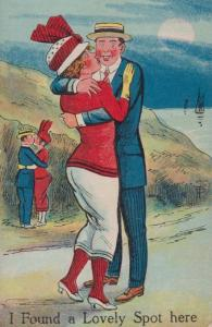 A Lovely Spot To Kiss Not Location Old Comic Humour Postcard