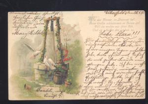 ELBERFELS GERMANY 1905 BIRDS AT WELL GERMAN ANTIQUE VINTAGE POSTCARD