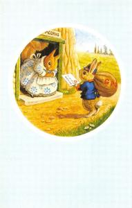 Racey Helps Fantasy~Letter For Mrs Squirrel Dressed GPO Delivery Rabbit~Medici