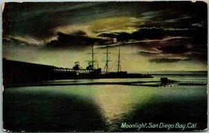 1910s California Postcard Moonlight, San Diego Bay Sailing Ship Newman UNUSED