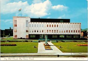 City Hall Thunder Bay Ontario ON Cenotaph Unused Vintage Postcard D56
