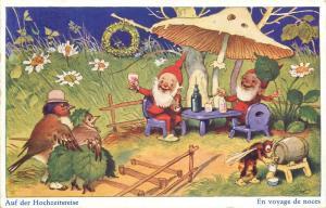Switzerland 1936 humanized birds couple honeymoon bee dwarfs cheers mushroom