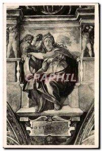 Old Postcard Roma Sistine Chapel Michelangelo Sibilla Deifica