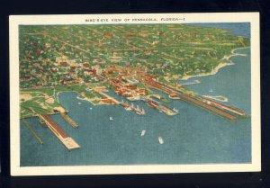 Pensacola, Florida/FL Postcard, Bird's Eye View Of City & Waterfront