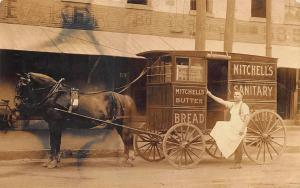 Chicopee Falls MA Mitchell's Sanitary Bakery Horse & Wagon 1908 RPPC
