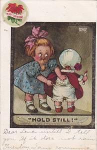 Girl Pinning Baby's Diaper Hold Still Signed Hutaf
