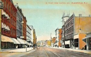 PLAINFIELD NEW JERSEY~W FRONT STREET FROM CENTRAL AVENUE-1910 F G TEMME POSTCARD