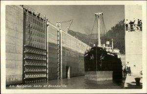 Ship Charles L Wheeler in Bonneville Locks Real Photo Postcard