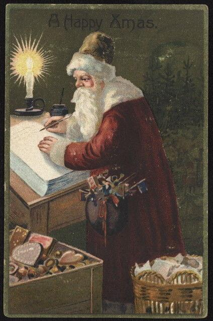 Early 20th c. Santa w/gifts writing in book by candlelight embossed color pc