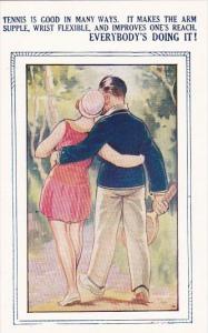 Bamforth Tennis Comic Romantic Couple Walking With Tennis Racket