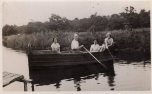 Bored On Rowing Boat Fishing Miserable Antique Real Photo Postcard