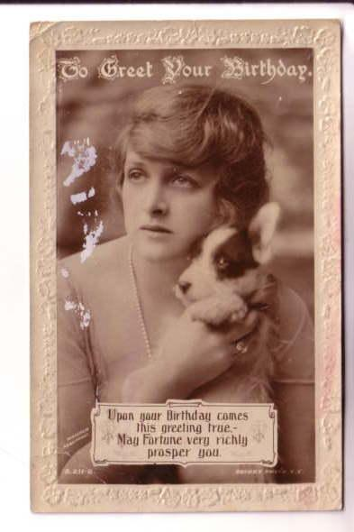 Real Photo, Pretty Woman with Black and White Puppy, Birthday, Rotary Photogr...
