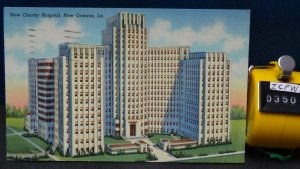 STD Vintage The New Charity Hospital New Orleans Louisiana Posted 1951 Linen