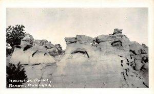LP09 RPPC Baker Montana Postcard View of Medicine Rocks Man Peeking Out