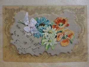 Poppies: Translucent Postcard With Embossed Poppies & Bow , Donate to R.B.L.