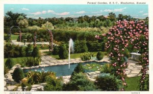 Manhattan, Kansas, KS, Formal Garden, K.S.C., 1931 Linen Vintage Postcard g8297