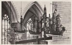 Grote Of St Bavokerk Haarlem Ships Dutch Real Photo Postcard