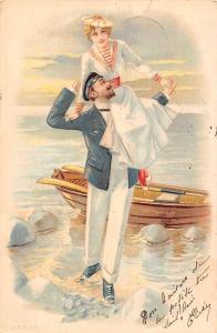 Postcard Marine sailor couple, boat, fantasy 1902 LITHO