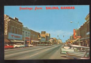 GREETINGS FROM SALINA KANSAS DOWNTOWN STREET SCENE OLD CARS POSTCARD