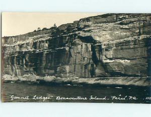circa 1920 rppc LEDGES ON BONVANTURE ISLAND IN PERCE - GASPE Quebec CANADA r7122