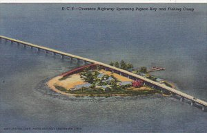 Overseas Highway Bridge Spanning Pigeon Key and Fishing Camp Florida Curteich