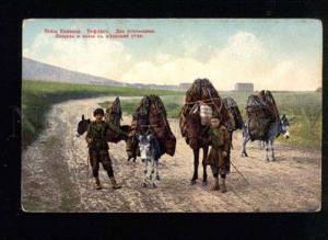 041514 Caucasus Tiflis coal seller w/ DONKEY Vintage PC