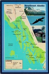 Southeast Alaska AK Map Inside Passage Route Unused Vintage Postcard C1