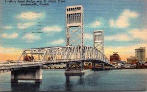 Florida Jacksonville Main Street Bridge Over St John's River 1941 Curteich