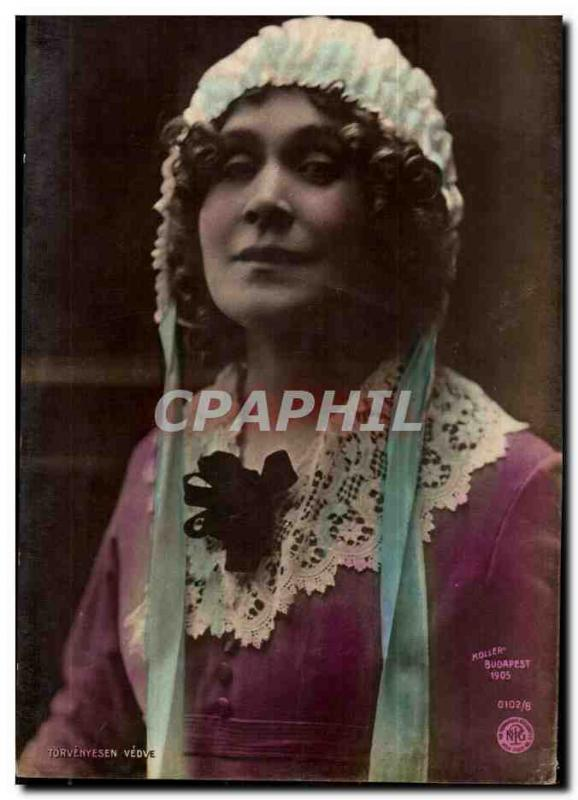 Fantaisie - Femme - Woman with stylish cap CPA (carte hongroise Hongrie Hungary)