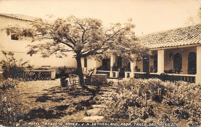 Taxco MX~Hotel Taxqueño Annex~Stone Path~Wicker~Owner Sutherland RPPC c1914