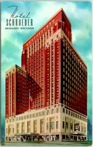 1940s MILWAUKEE, Wisconsin Postcard HOTEL SCHROEDER Building View Chrome c1950s