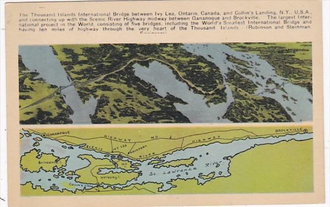 Map Of The Thousand Islands International Bridge Between Ivy Lea Ontario & Co...