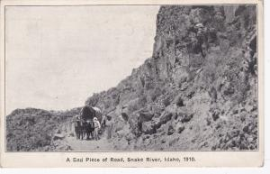 SNAKE RIVER, Idaho, 00-10s; A Bad Piece of Road, Ox pulled Covered Wagon