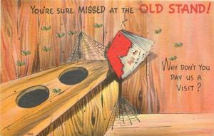 Outhouse Comic~You are Missed at the Old Stand!~Flies & Spider Webs~Linen~1940s