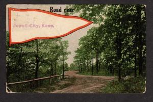 KS Road Near JEWELL CITY KANSAS Pennant Postcard 1914