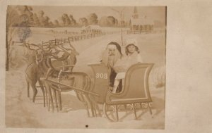RP; Santa Claus & Child , Sled photo prop , 00-10s ; Christmas