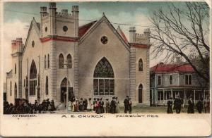 Fairbury Nebraska~Victorian Congregants Leave ME Church~1908 Handcolored PC