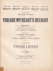 You Are My Hearts Delight 1920s Franz Lehar Olde Sheet Music