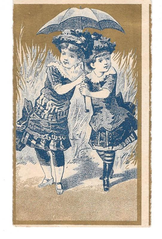 Victorian Chromo Two Girls Under Umbrella Blue and Gold Card