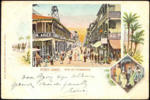 egypt, PORT SAID, Rue du Commerce, Multiview (1901)