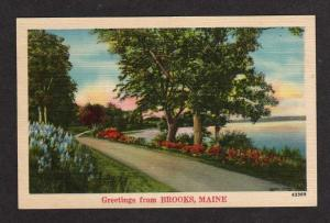 ME Greetings from BROOKS MAINE Postcard Linen PC