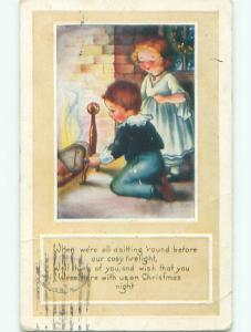 Pre-Linen christmas CUTE GIRL WATCHES BOY WITH FIREPLACE BELLOWS k1275