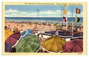 1955 Stewart Beach, Galveston, TX Postcard *5E4